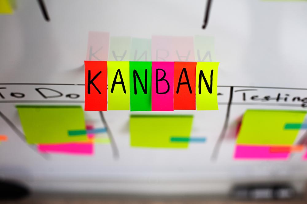 """Mensagem com a palavra""""KANBAN"""". Kanban é uma palavra de origem japonesa e seu significado é o de cartão, sinalização. pode ser relacionado com a gestão de TI"""