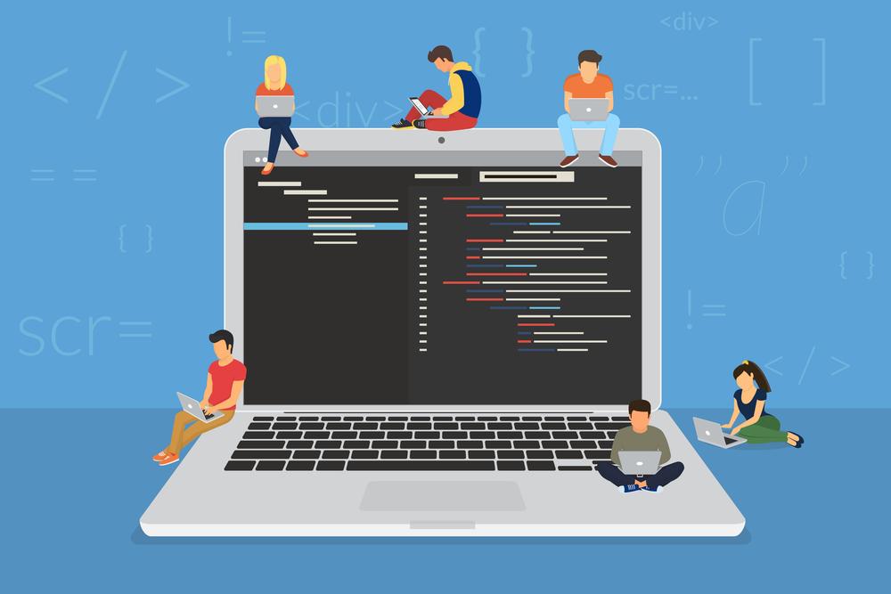 ilustração de pessoas trabalhando em meio à códigos, representando um command center