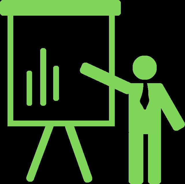 icone de consultoria com a representação gráfica de um profissional apontando melhorias em um quadro.
