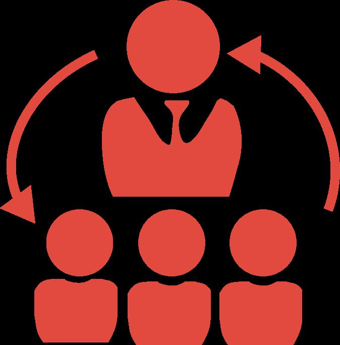 icone outsourcing de ti com representação gráfica de troca de informações entre profissionais