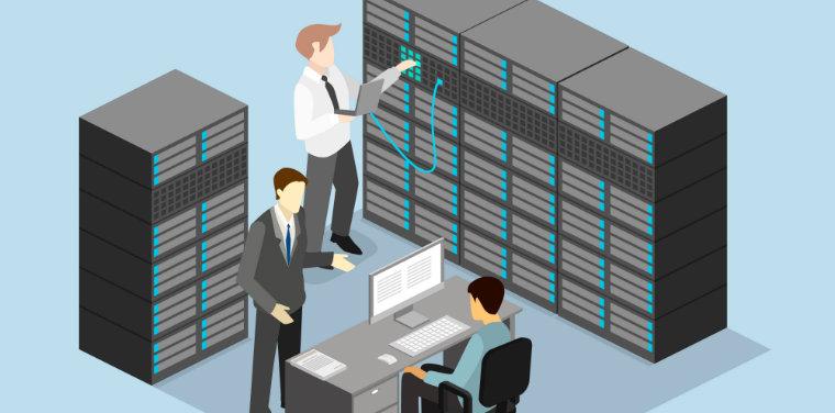 Ilustração de pessoas analisando os dados de uma empresa