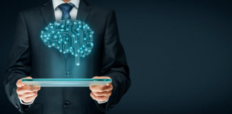 projeção de inteligência artificial por um tablet