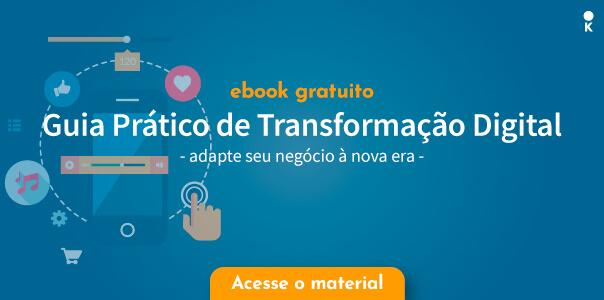 Capa de ebook de transformação digital com ilustração de celular rodeado de icones cotidianos como redes sociais, e-commerces e pesquisas.
