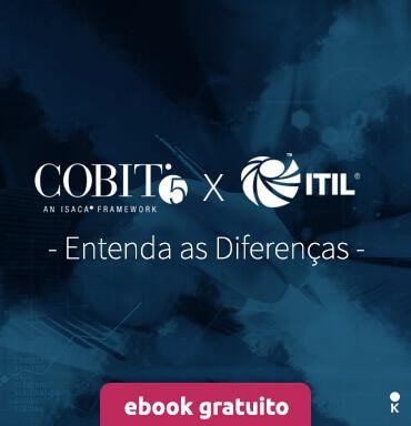 capa de ebook de cobit x itil com imagem formando um X separando a marca dos dois frameworks.