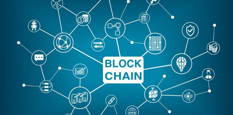 rede de ícones representando segurança e conexão do blockchain