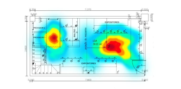 Planta de loja com um mapa de calor apontando como é o fluxo de pessoas na loja