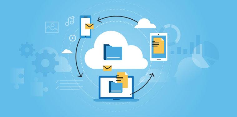 Nuvem rodeada de dispositivos sendo conectados. Exemplo de Cloud Computing