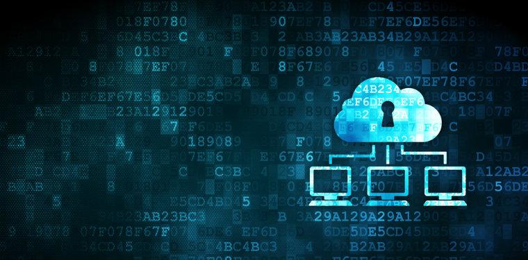 Nuvem com uma fechadura conectada à uma rede de computadores representando a nuvem pública.