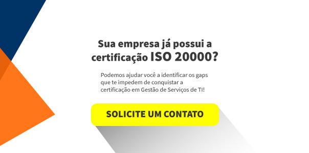 """Desenho com a frase """"Sua empresa já possui a certificação ISO 20000?"""" acima do botão """"Solicite um contato"""""""