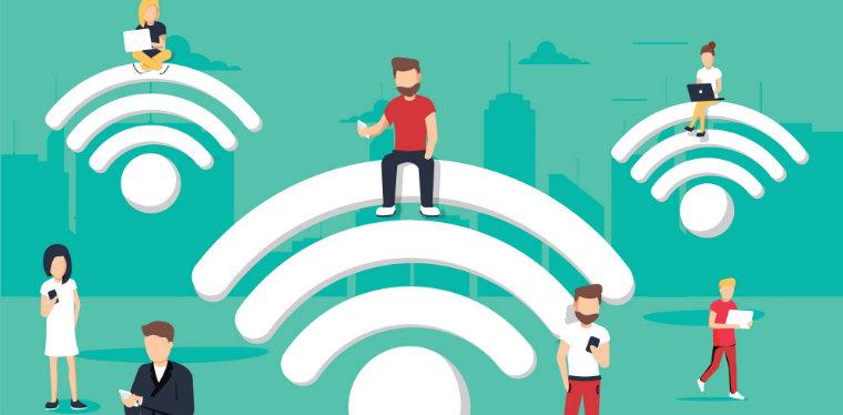 pessoas sentadas sobe o simbolo de Wifi. Ilustração da proteção necessária na rede wifi corporativa