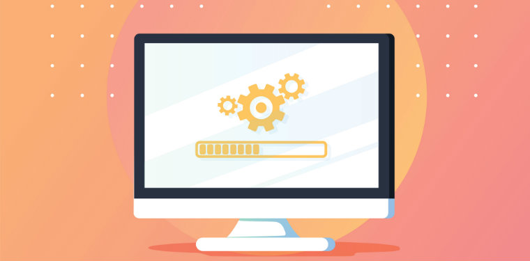 ilustração de um monitor exibindo engrenagens. Representação do conceito de SRE